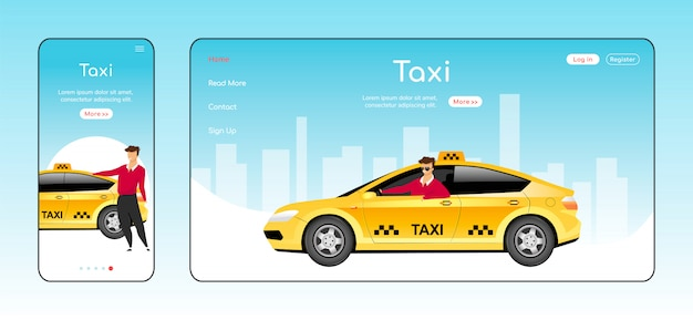 Pagina di destinazione reattiva per i taxi