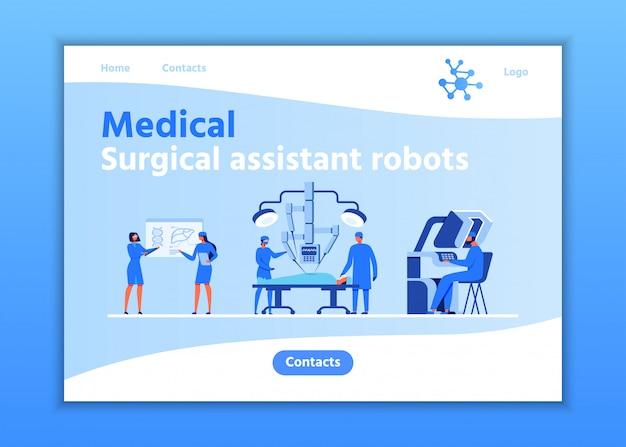 Pagina di destinazione robot per assistente medico chirurgico