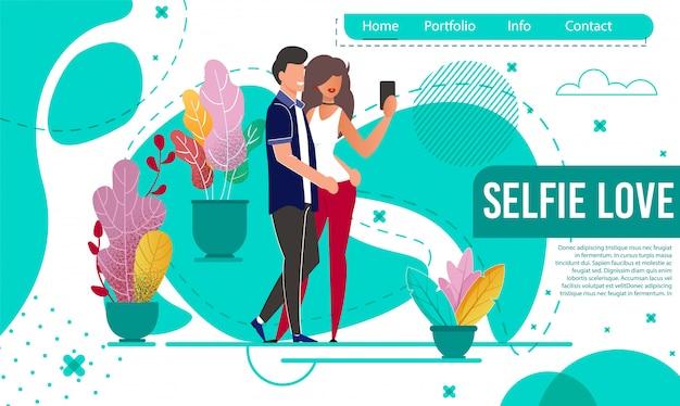 Pagina di destinazione romantica con coppia prendi selfie