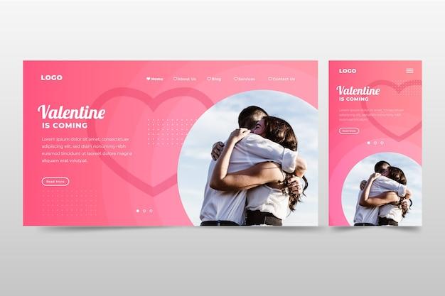 Pagina di destinazione romantica di san valentino