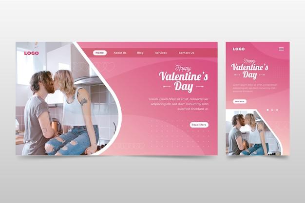 Pagina di destinazione romantica per san valentino