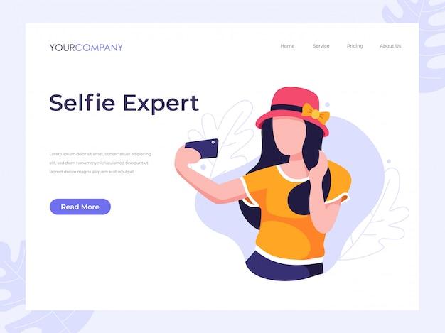 Pagina di destinazione selfie donna