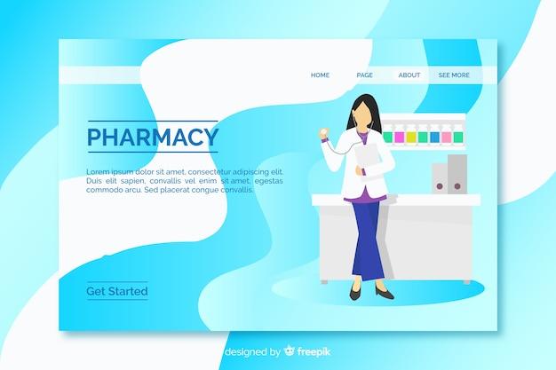 Pagina di destinazione semplice e piatta per farmacia