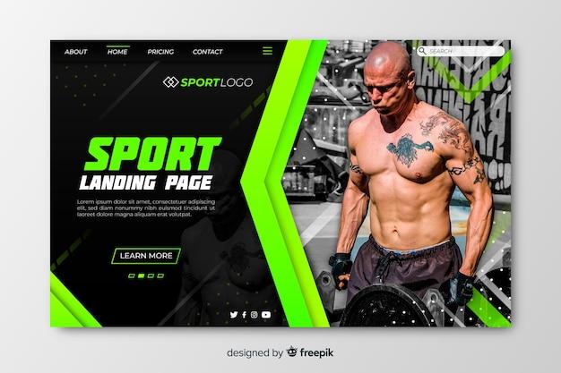 Pagina di destinazione sport modello con foto