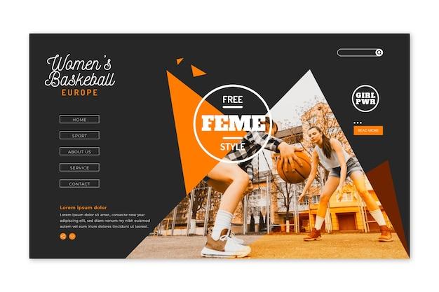 Pagina di destinazione sportiva con immagine