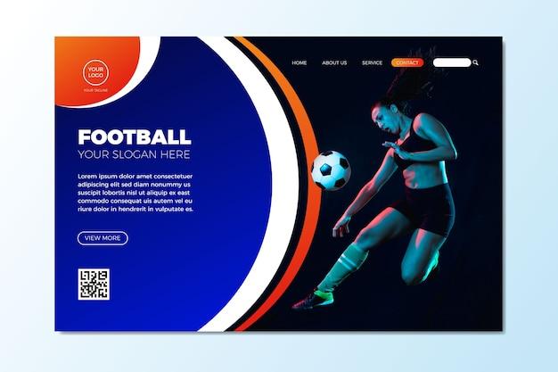 Pagina di destinazione sportiva con modello di foto