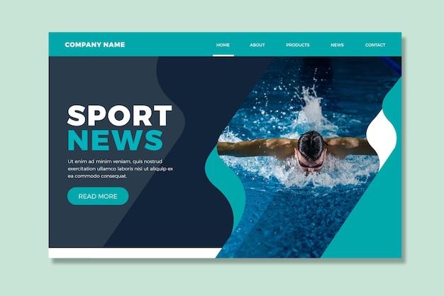Pagina di destinazione sportiva con modello di immagine