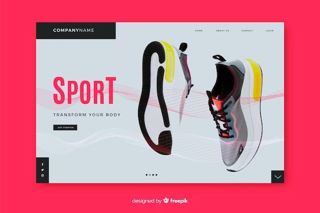 Pagina di destinazione sportiva con scarpe da ginnastica