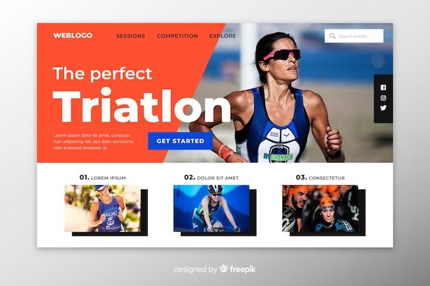 Pagina di destinazione sportiva del triathlon