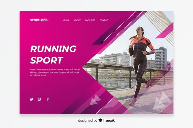 Pagina di destinazione sportiva in esecuzione