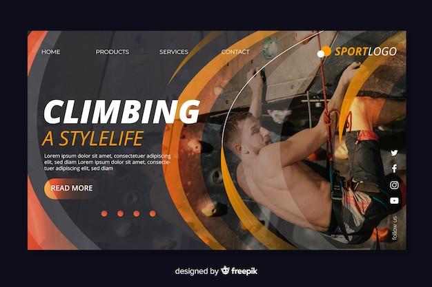 Pagina di destinazione sportiva per l'arrampicata