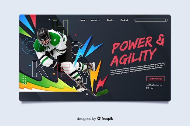 Pagina di destinazione sportiva per potenza e agilità