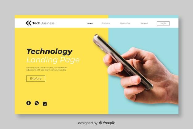 Pagina di destinazione tecnologia minimalista con foto