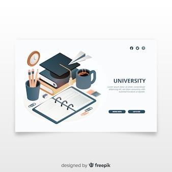 Pagina di destinazione universitaria isometrica
