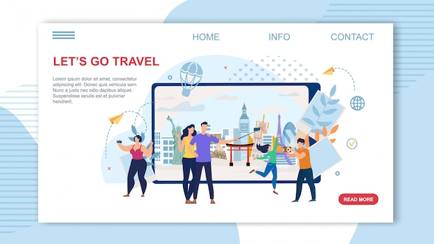 Pagina di destinazione vector piatto di servizio online di agenzia di viaggi