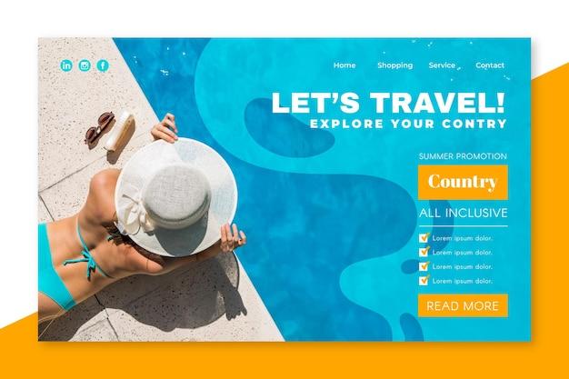 Pagina di destinazione vendita di viaggio con foto