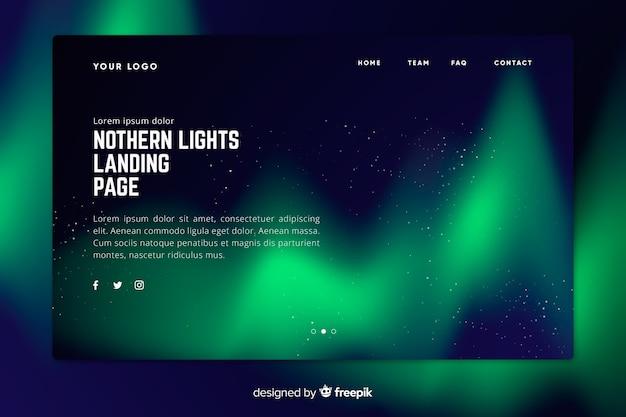 Pagina di destinazione verde delle luci del nord