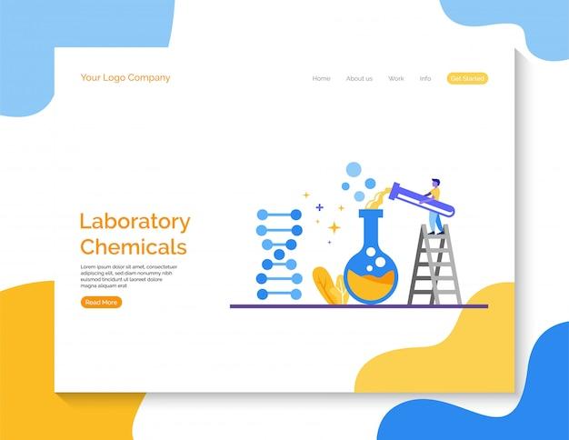 Pagina di destinazione. vettore di prodotti chimici di laboratorio per sito web.