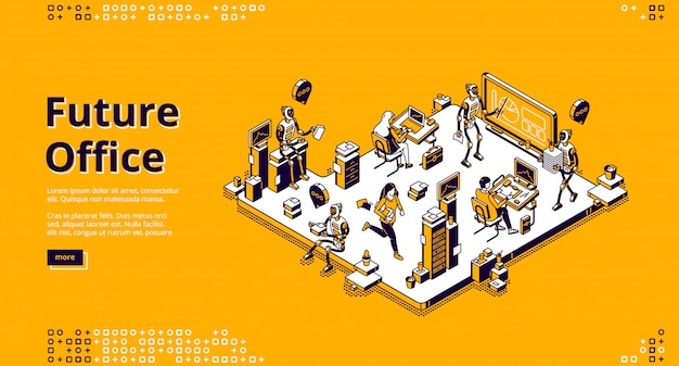 Pagina di destinazione vettoriale del futuro ufficio con robot