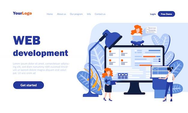 Pagina di destinazione vettoriale di sviluppo web con intestazione