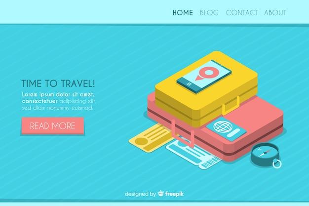 Pagina di destinazione viaggio isometrica