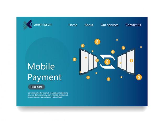 Pagina di destinazione web del servizio di pagamento mobile online