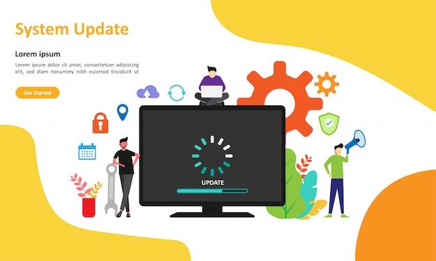Pagina di destinazione web di aggiornamento del sistema