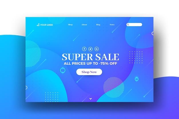 Pagina di destinazione web di vendita ad effetto liquido e memphis