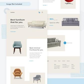 Pagina di destinazione web per la vendita di mobili