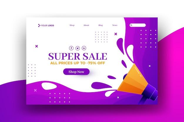 Pagina di destinazione web vendita super estate