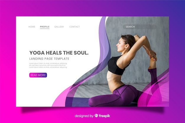 Pagina di destinazione yoga con foto