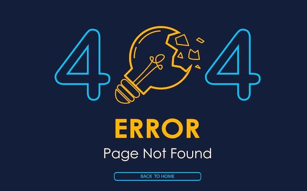 Pagina di errore 404 non trovata sfondo rotto lampada
