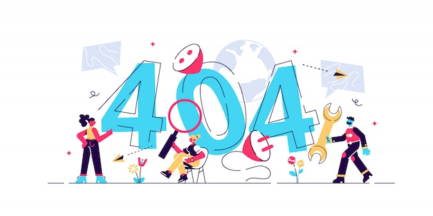 Pagina di errore concept 404 o file non trovato per pagina web, banner, presentazione, social media, documenti, carte, poster. errore di manutenzione del sito web, illustrazione in costruzione della pagina web, piana.
