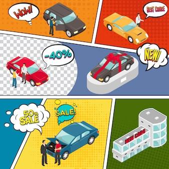 Pagina di fumetti di vendita di automobili