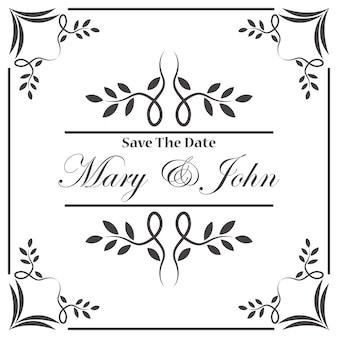 Pagina di invito di nozze dell'annata