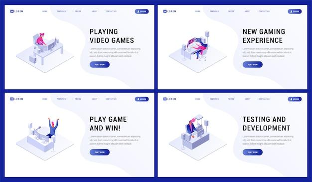 Pagina di landin. illustrazione del torneo di giocatori