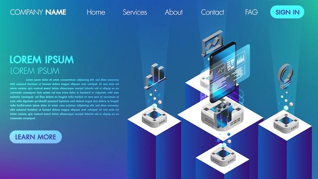 Pagina di landin. mocksite. concetto di comunicazione commerciale di realtà virtuale con l'illustrazione isometrica di vettore di tecnologia