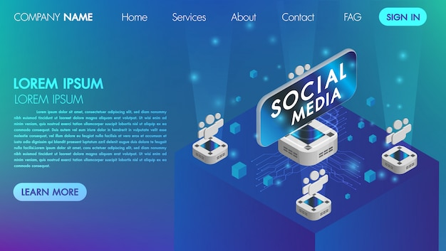Pagina di landin. mocksite. concetto di comunicazione di media sociali di realtà virtuale con l'illustrazione isometrica di vettore di tecnologia