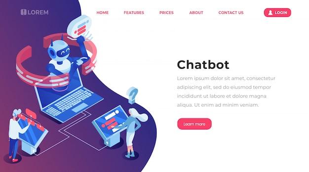 Pagina di modello di atterraggio isometrica di chatbot.