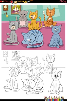 Pagina divertente del libro da colorare del gruppo di gatti del fumetto