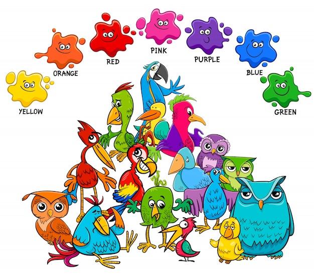 Pagina educativa di colori di base con uccelli