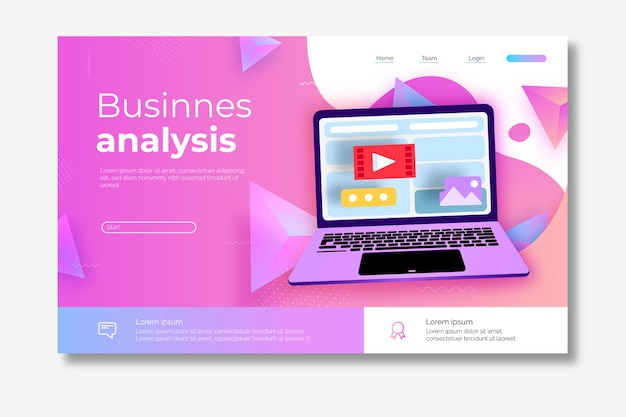 Pagina iniziale sull'analisi aziendale con laptop illustrato