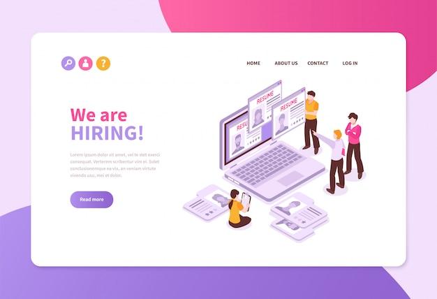 Pagina isometrica del sito web dell'insegna di concetto di assunzione di ricerca di lavoro con i fogli di applicazione del computer portatile e la gente con testo