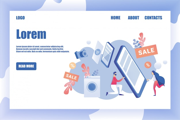 Pagina modello di progettazione per negozio di elettrodomestici
