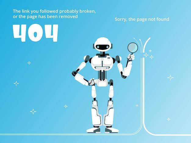 Pagina non trovata o modello di errore 404 con vettore robot