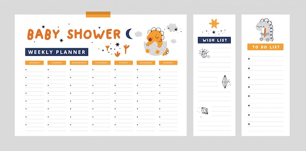 Pagina planner settimanale con simpatico dino, modello di lista dei desideri. organizzatore per mamma e bambino. baby shower