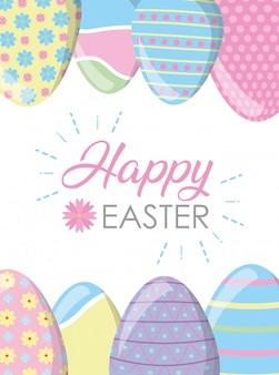 Pagina uova di pasqua felici con la cartolina d'auguri di colori pastello