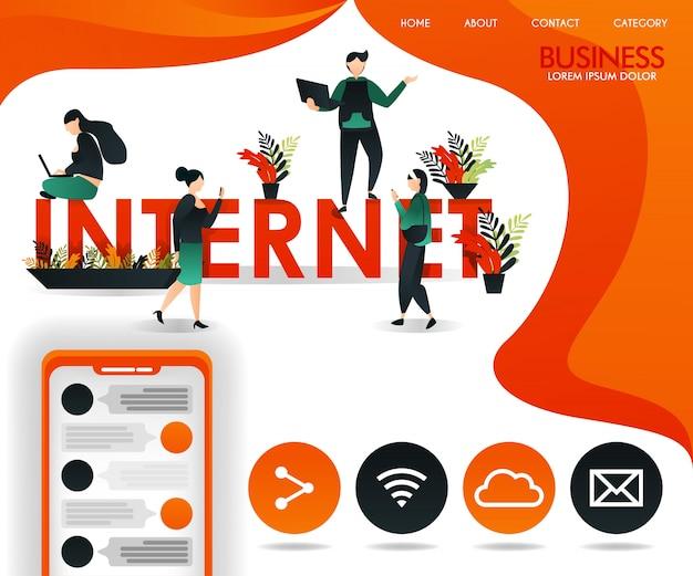 Pagina web arancione con temi di connessione e internet