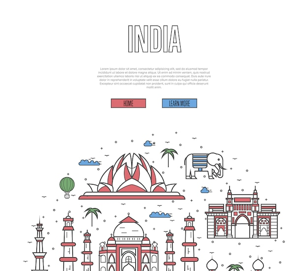 Pagina web del tour di viaggio dell'india in stile lineare