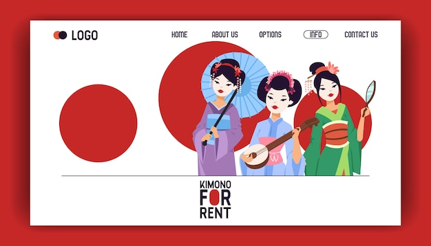 Pagina web della geisha bella giovane donna giapponese in kimono di moda in giappone illustrazione sullo sfondo